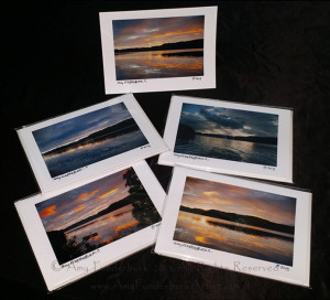 The Loch Ness Sunrise Suite Greeting Card Collection Five-pack features one of each design © Amy Funderburk 2013-14