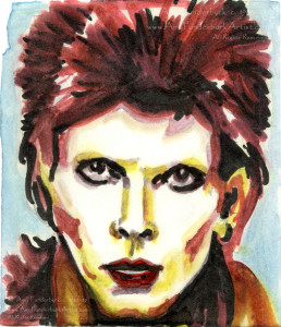 "David Bowie As Ziggy Stardust, Fan Art markers on paper, 3"" x 4"" © Amy Funderburk 1985 to 1988 All Rights Reserved"