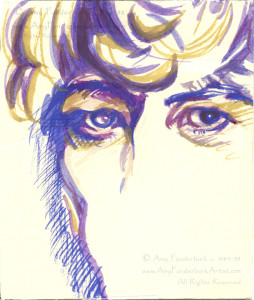 "David Bowie Fan Art gouache on paper, circa 1985 to 1988 3"" x 4"" © Amy Funderburk circa 1985-1988 All Rights Reserved"