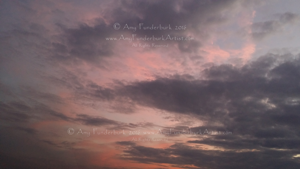 Serene Pink and Grey Sunset October 3, 2016 digital photograph for painting reference © Amy Funderburk 2016, All Rights Reserved