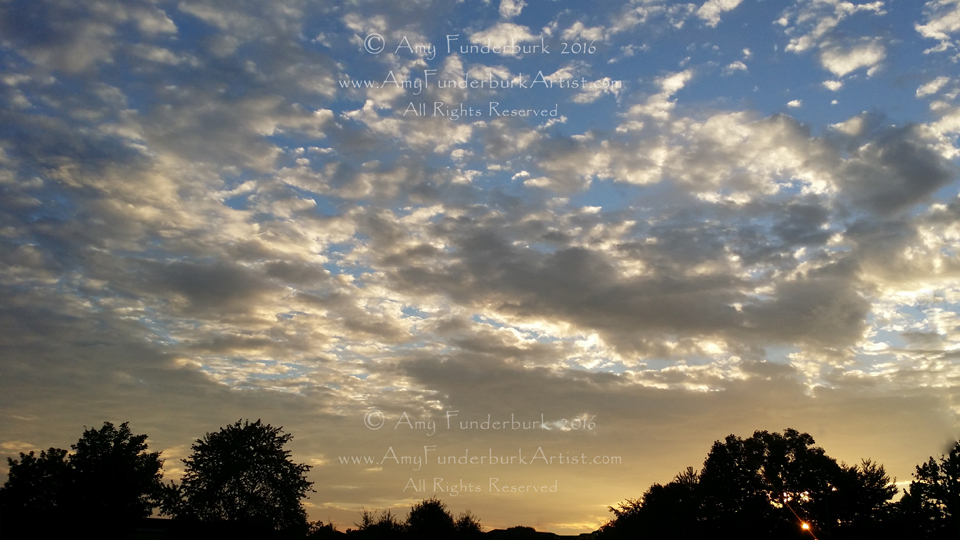 Warm Dappled Sunset Clouds on a Vivid Blue Sky August 28, 2016 Greensboro, NC digital photograph © Amy Funderburk 2016, All Rights Reserved