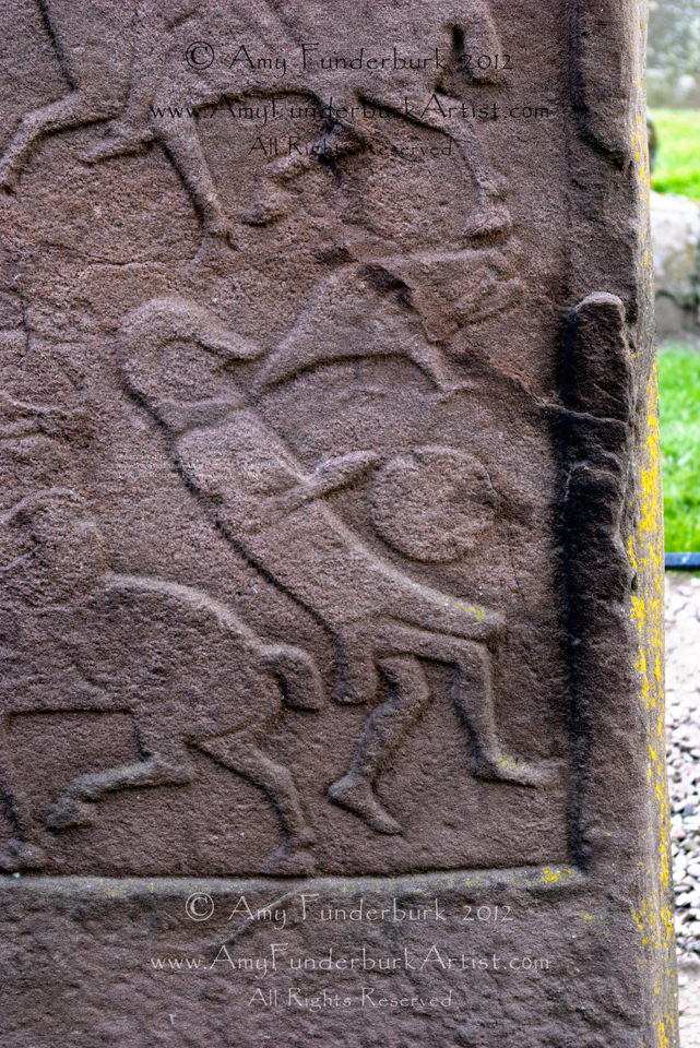 Detail of Aberlemno Stone #2: the Battle of Nechtansmere Aberlemno kirkyard, Angus, Scotland photograph © Amy Funderburk 2012, All Rights Reserved