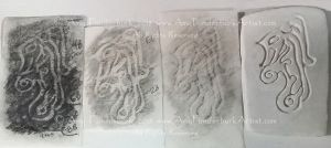 Pictish Dragon carving prototype with rubbing drawing experiments for grass in Ficticious Pictish Standing Stone