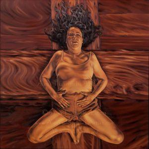 South Tawton Ceiling Boss: Sheela Na Gig (Supta Baddha Konasana -- Reclining Cobbler's Pose)