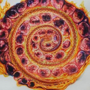 Blue_Moon_Fire_Spiral,_detail_interactive_drawing_and_painting_watercolor_pencil_on_distressed_paper_with_burned_edges_17x13_copyright_Amy_Funderburk_All_Rights_Reserved_for_AF_website_use_only.jpg