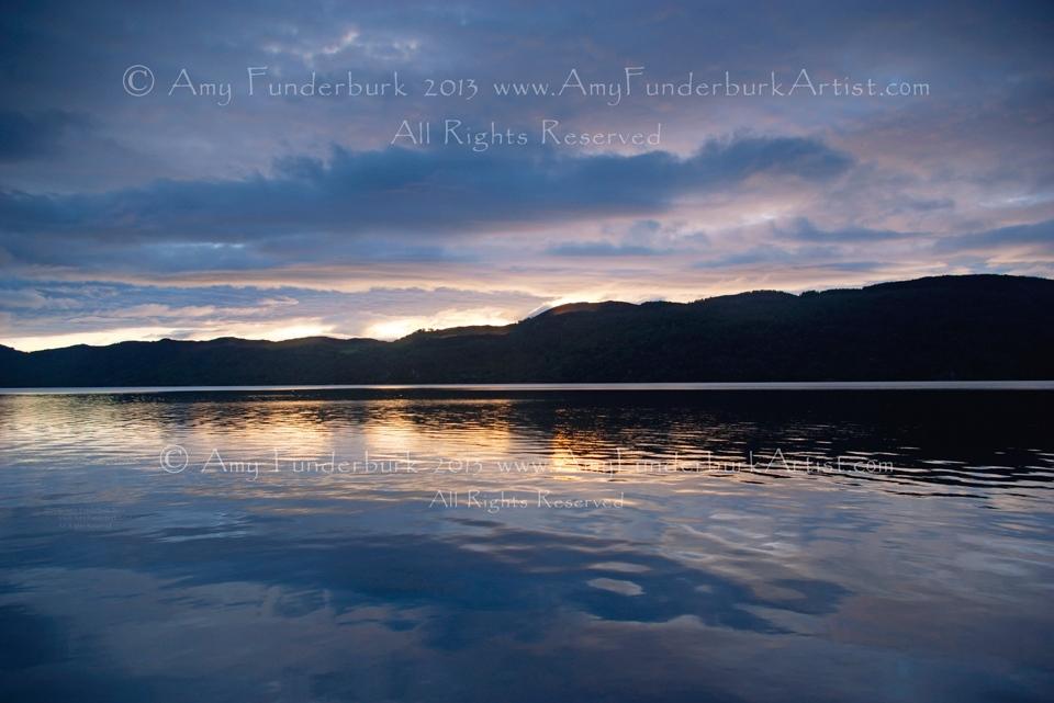 Loch Ness Sunrise with Dark Nessie-Shaped Reflection, 9/27/12