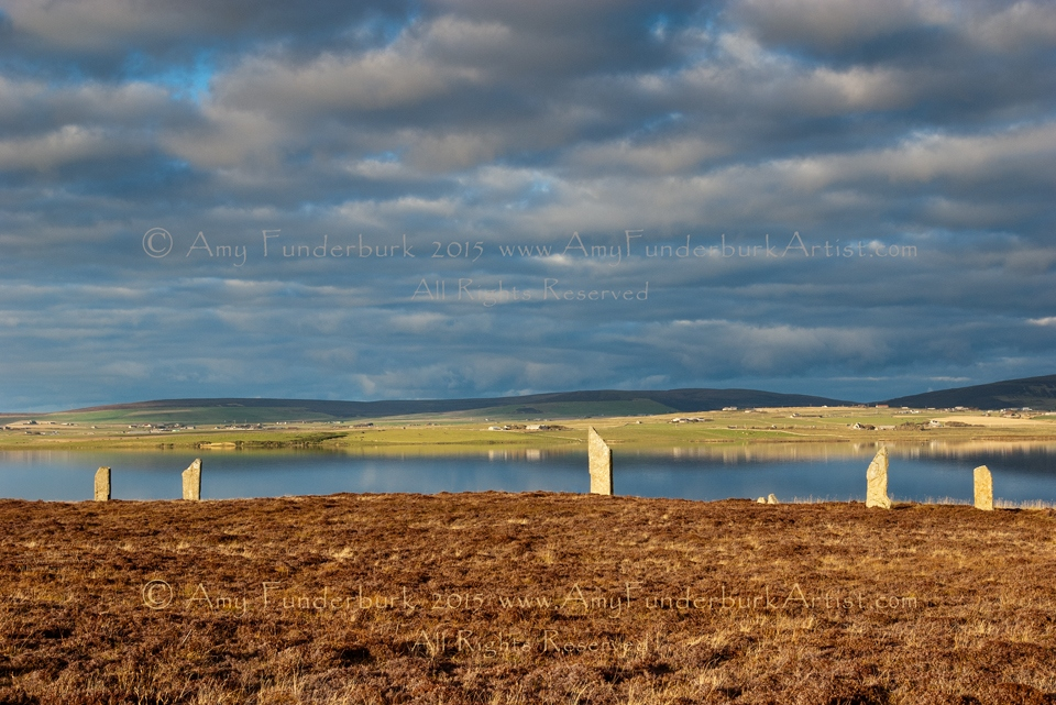 Sunlit Stones with Clouds and Reflection, Ring of Brodgar